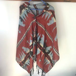 Aztec Pattern Poncho with Hood and Fringe OS